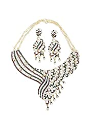 Jawahraat Heavy Necklace Set In Contemporary Design - B00T5TOAWQ