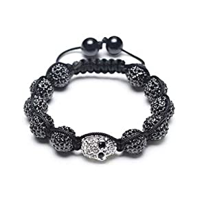 Bling Jewelry Black Shamballa Inspired Bracelet Skull and Simulated Hematite Beads 12mm Alloy
