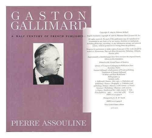 Gaston Gallimard: A Half-Century of French Publishing (English and French Edition), Assouline, Pierre