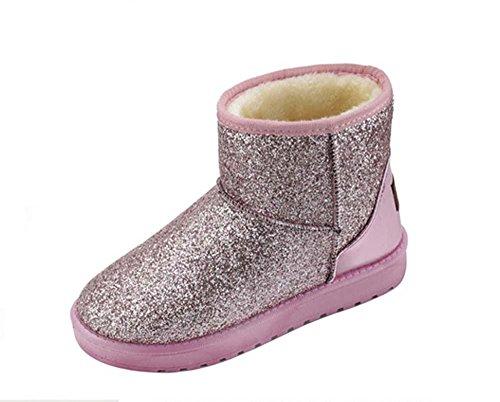 SHIXR Neve nuova autunno inverno donna stivali tacco piatto stivaletti casual coibentato , pink , 36