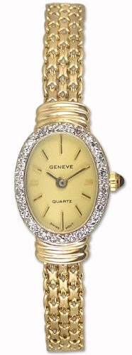 Geneve Mini 14k Solid Gold Diamond Womens Watch W080816