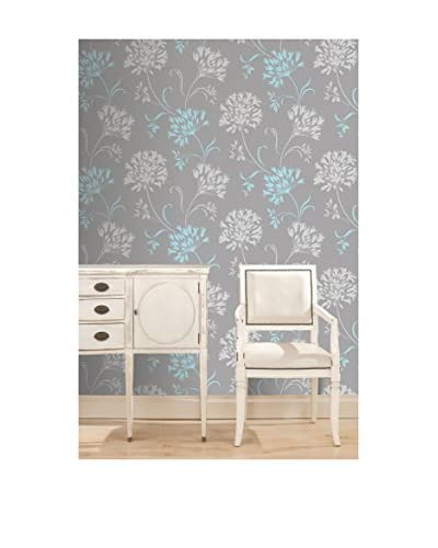 Brewster Floral Silhouette Strippable Wallpaper, Light Grey