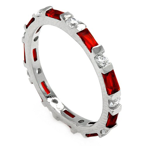 Rhodium Plated Sterling Silver 2mm High Polish Red and White Cubic Zirconia Eternity Anniversary Ring Band (Sizes 5 to 9) - Size 6