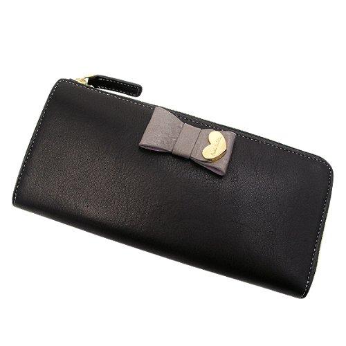ポールスミス 財布 コントラストリボン ラウンドファスナーウォレット 長財布 (L)/ブラック[PWW783]