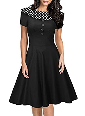 Miusol® Women's Vintage Boat Neck Contrast Polka Dot Cap Sleeve 1950'S Party Dress