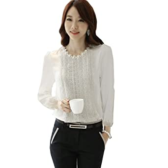 Zeagoo Women's Chiffon Long Sleeve Blouse Tops Shirts Lace Embellished