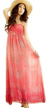 Demarkt Elegant Longue Robe avec Voile pour les Femmes/ Sans Manches / Couleur Rouge/ Taille Unique
