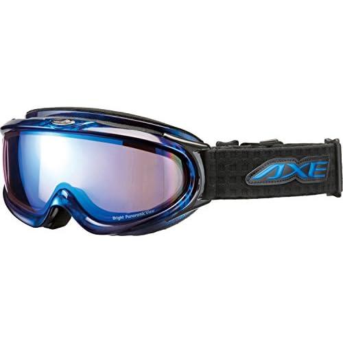 AXE(アックス) スキーゴーグル UVカット メンズ ハイコントラスト ブルーミラーレンズ ブルー AX888-WBU