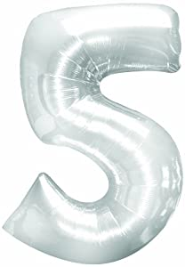 Number Five Shape 51.5 Inch Silver Mylar Balloon Pkg/6