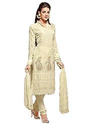 Fabboom Women's Chiffon Semi-Stitched Salwar Suit (FBA178-1690_White)
