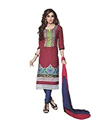 Divisha Fashions Pink and Blue Cotton Suit with Dupatta