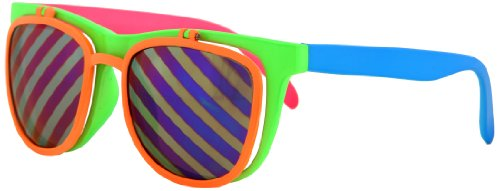 Elope Flip Up Neon Multi-colored Wayfarer Style Shades