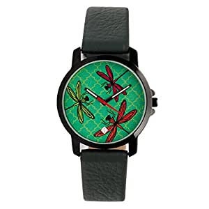 India Circus Dragonfly Beauty PU Leather Women's Wrist Watch