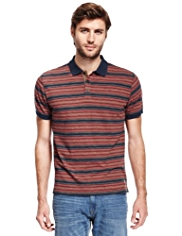 North Coast Pure Cotton Multi-Striped Polo Shirt