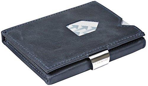 Exentri Wallet Portafoglio per fino a 12carte di credito in pelle Portafogli + schlüßel, Blue EX015 (Blau) (blu) - EX 015 Blue