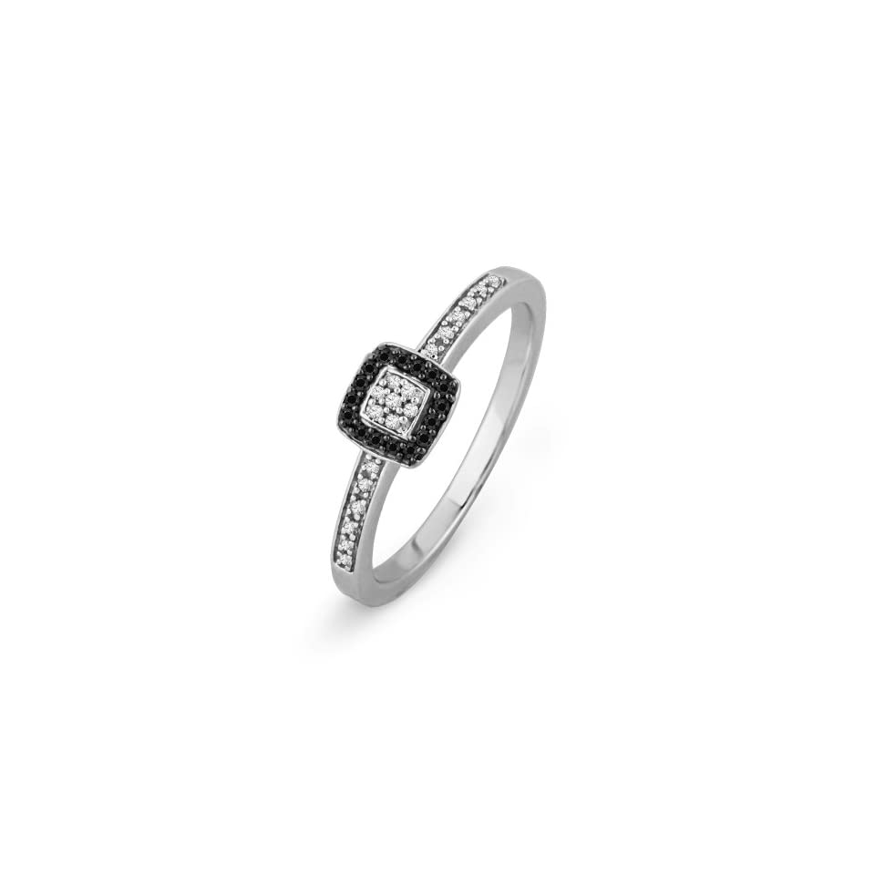 Platinum Plated Sterling Silver Round Diamond Black And White Promise Ring (1/6 CTTW)