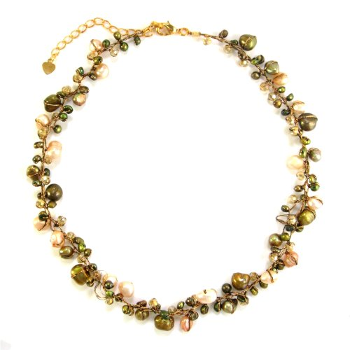 MGD, Genuine Green Cultured Fresh Water Pearl with crystal 3-Strand Silk Tread Cluster Necklace, 'Greeny Vill'