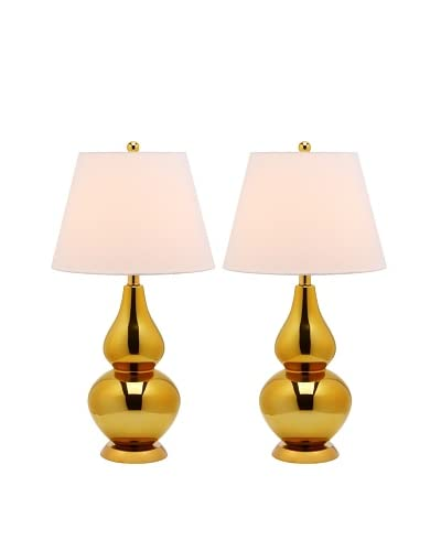 Safavieh Set of 2 Cybil Double Gourd Lamps, Gold