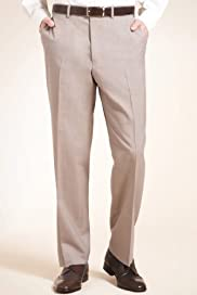 Supercrease® Wool Blend Flat Front Textured Trousers [T18-3913-S]