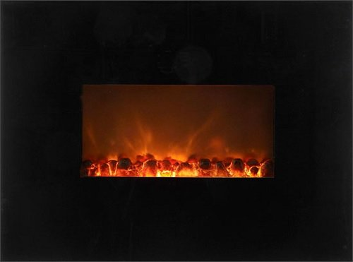 "Modern Flame Al-58-Bg Ambiance 58"" Wall Mount Electric Fireplace W/ Black Glass"