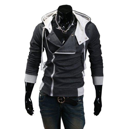Cottory Men's Oblique Zipper Hoodie Cosplay Costume Top Coat Jacket
