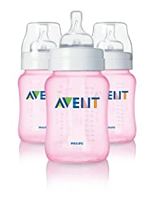 Philips Avent BPA Free Classic Polypropylene Bottle, Pink, 9 Ounce, 3 Count