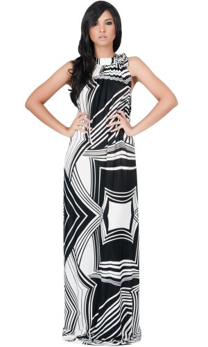 Koh Koh Long Summer Slimming Sleeveless Stunning Graphic Print Evening Cocktail Party Maxi Dress - Large - Black & Off-White