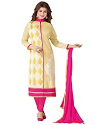 Inddus Women Yellow & Pink Cotton Embroidered Dress Material