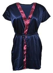Le Fantasia Women's Satin Dressing Gown (Blue, Large)