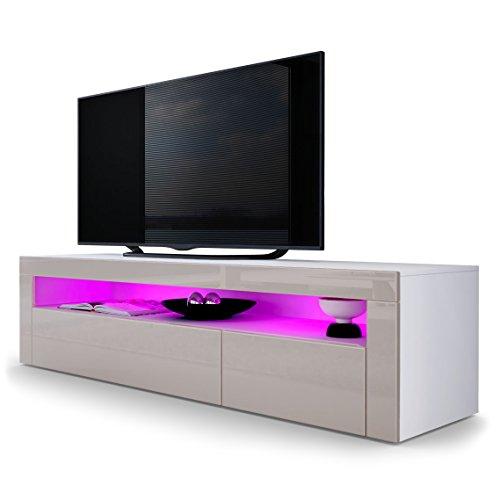 TV-Board-Lowboard-Valencia-Korpus-in-Wei-matt-Front-in-Sandgrau-Hochglanz-mit-Rahmen-in-Sandgrau-Hochglanz
