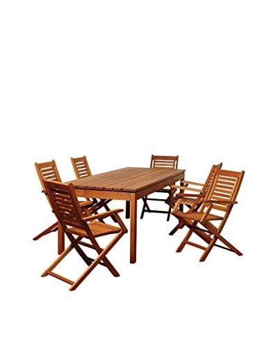 Amazonia Connecticut 7-Piece Eucalyptus Rectangular Dining Set, Brown