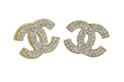 24K Gold Plated Double C Stud Earring White Crystal