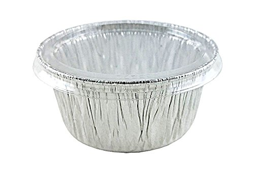 Handi-Foil 4 oz Aluminum Muffin Cupcake Ramekin Cups w/Clear Lid Disposable Tins (Pack of 50)