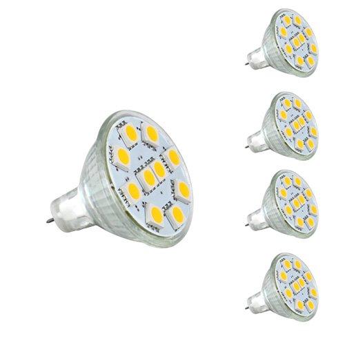 LE® 1.8W MR11 GU4.0 LED Bulbs, 20W Halogen Bulbs Equivalent, GU4 Base, 165lm, 12V AC/DC, 120° Flood Beam, Warm White, 3000K, LED Light Bulbs, Pack of 4 Units