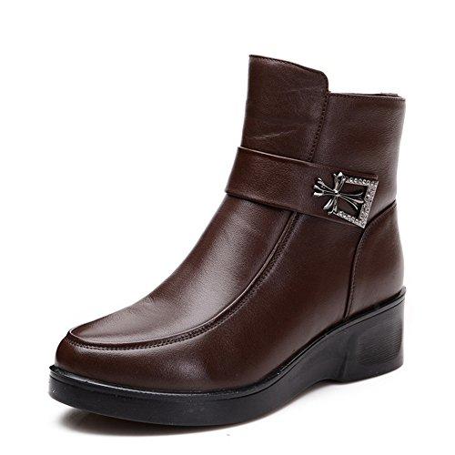 maman et chaussures chaussures souples /Cuir bottines/ boots casual femmes d'âge moyen / Plate-forme en Europe et tube court bottes d'hiver
