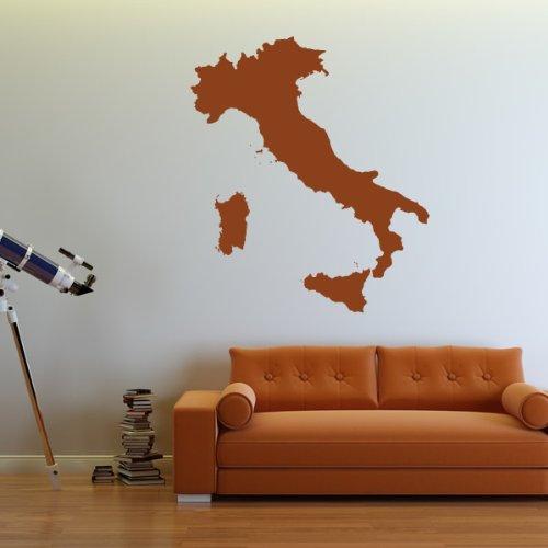Italia Wall Stickers Map Adesivo Art disponibile in 5 dimensioni e 25 colori Extra-Small Bianco
