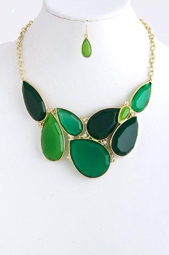 Trendy Fashion Jewelry Teardrop Jewel Cluster Necklace By Fashion Destination   (Green)