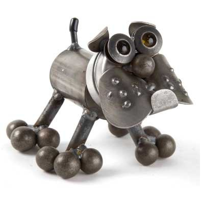Tiny Bulldog Recycled Metal Sculpture