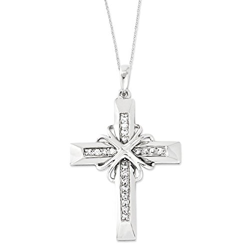 Silver Cz Steadfast Love 18In Cross Necklace. Metal Weight- 3.75G.