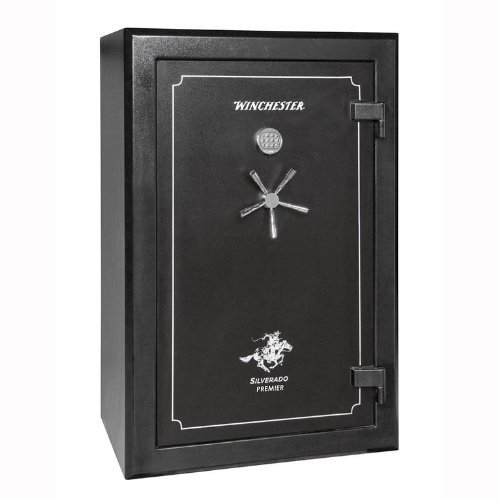 Winchester Silverado Premier 2 Hour Fire Safe/51 Gun Safe - S38 - Black - Electronic Lock - Door Panel Organization Included - 2 Hour 1400 Degree Rating - Three Layers Of 5/8 Inch Fireboard In The Door - Palusol Heat Expandable Door Seal - UL Listed For B