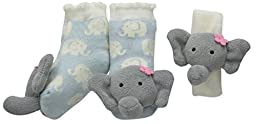 Mud Pie Baby Elephant Wrist and Toe Rattle Set, Gray, 0-12 Months