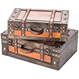 Set of 2 Vintage Style Wood Decorative Suitcases - By Trademark Innovations