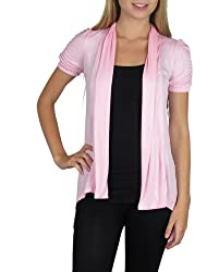 Smooth Fashion Women's Short Sleeve Open Flyaway Cardigan Sweater (Small, Pink)