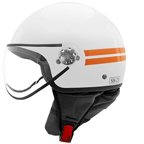 CASQUE 1/2 JET TNT PUCK BLANC/ORANGE BRILLANT L