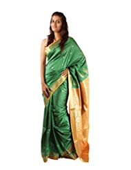 Saree Studio Green Wedding Saree Artificial Silk Resham Work Party Wear Sari