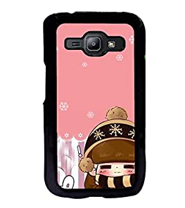 Fuson Premium 2D Back Case Cover Cute baby With black Background Degined For Samsung Galaxy J1::Samsung Galaxy J1 J100F