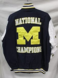G-III Michigan Wolverines Mens Large Snap Up 11 Time National Champions Cotton Jacket by G-III Sports