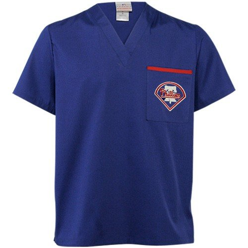 MLB Philadelphia Phillies Royal Blue Scrub Top (Small) at Amazon.com