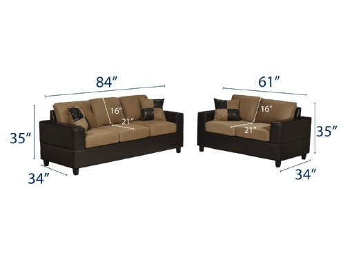 Buy Low Price Poundex Bobkona Seattle Microfiber Sofa and Loveseat 2-Piece Set in Saddle Color (VF_F7592)