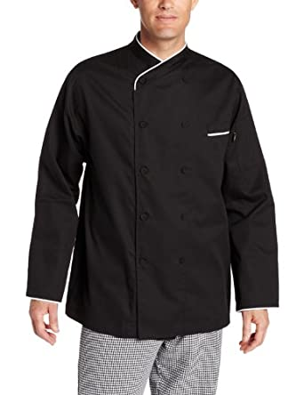 Dickies Men's Black Egyptian Cotton Chef Coat, Black, X-Small